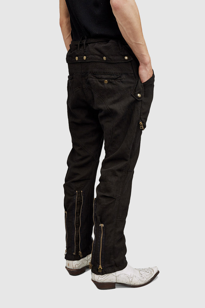 A back close-up of a black cargo pants for men collection by Faith Connexion, a brand of luxury ready-to-wear clothes