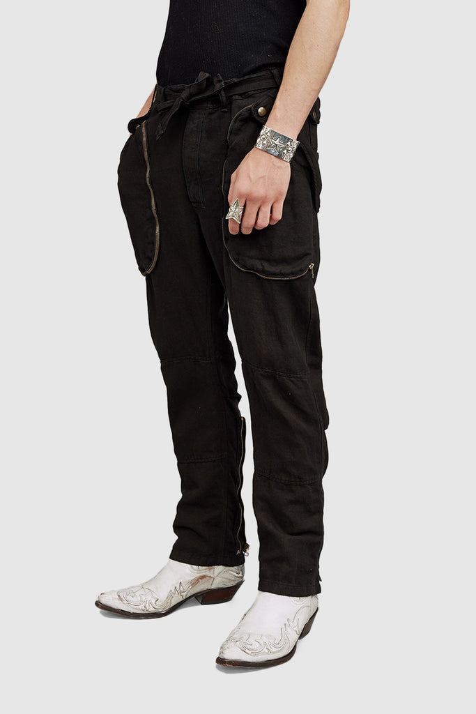 A three quarter close-up of a black cargo pants for men collection by Faith Connexion, a brand of luxury clothes