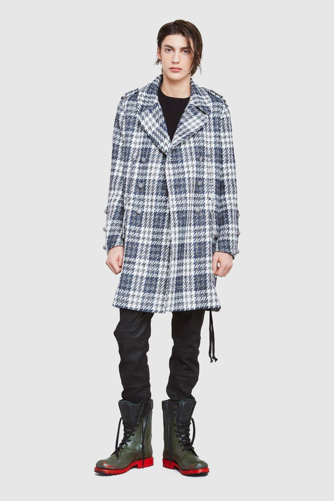 DOUBLE-BREASTED TWEED LONG WOOL-BLEND COAT - Faith Connexion