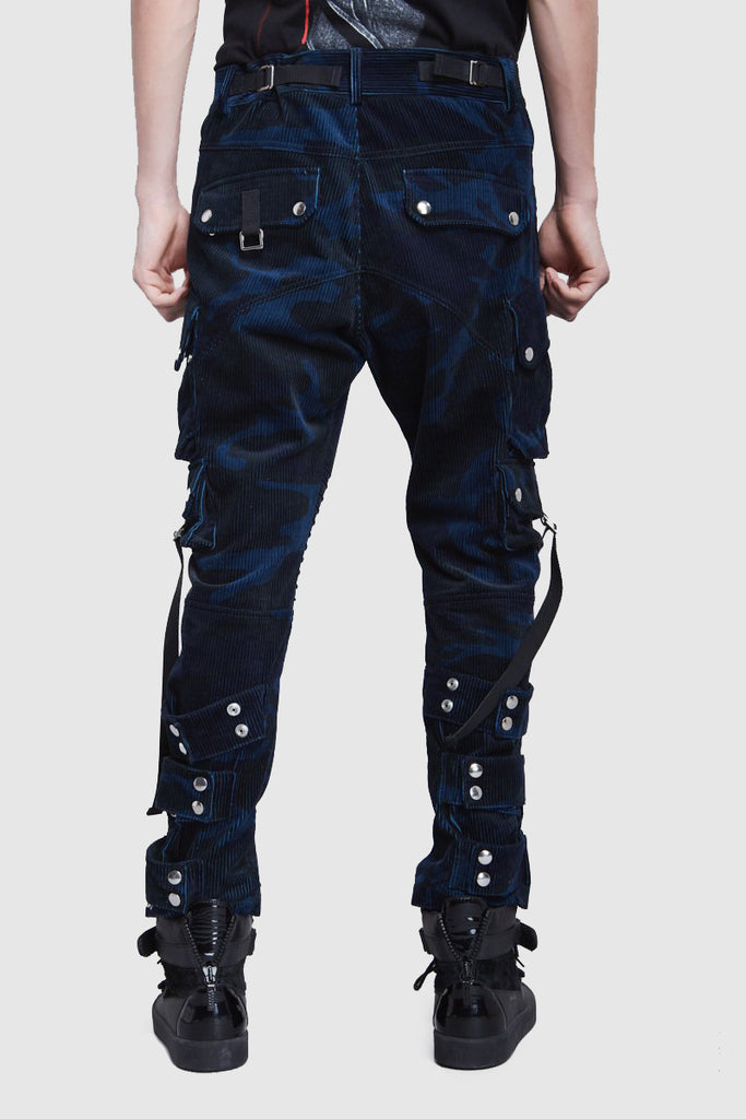 NAVY BLUE VELVET CAMO CARGO - Faith Connexion