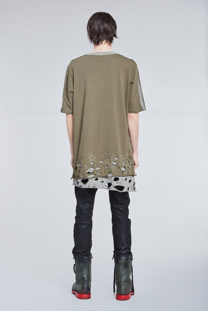 KAKI DISTRESSED T-SHIRT