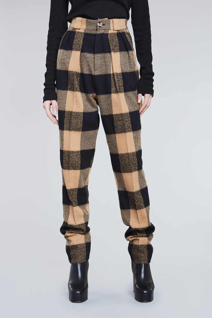 CHECKERED HIGH WAIST TAILORED PANTS
