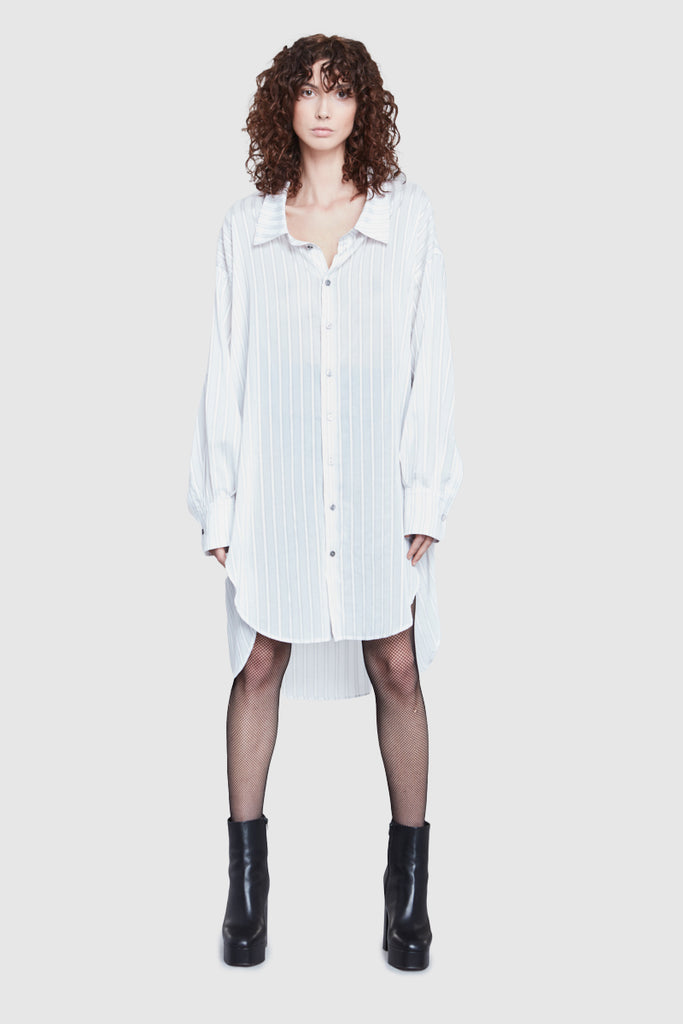 OVERSIZED STRIPPED WHITE SHIRT