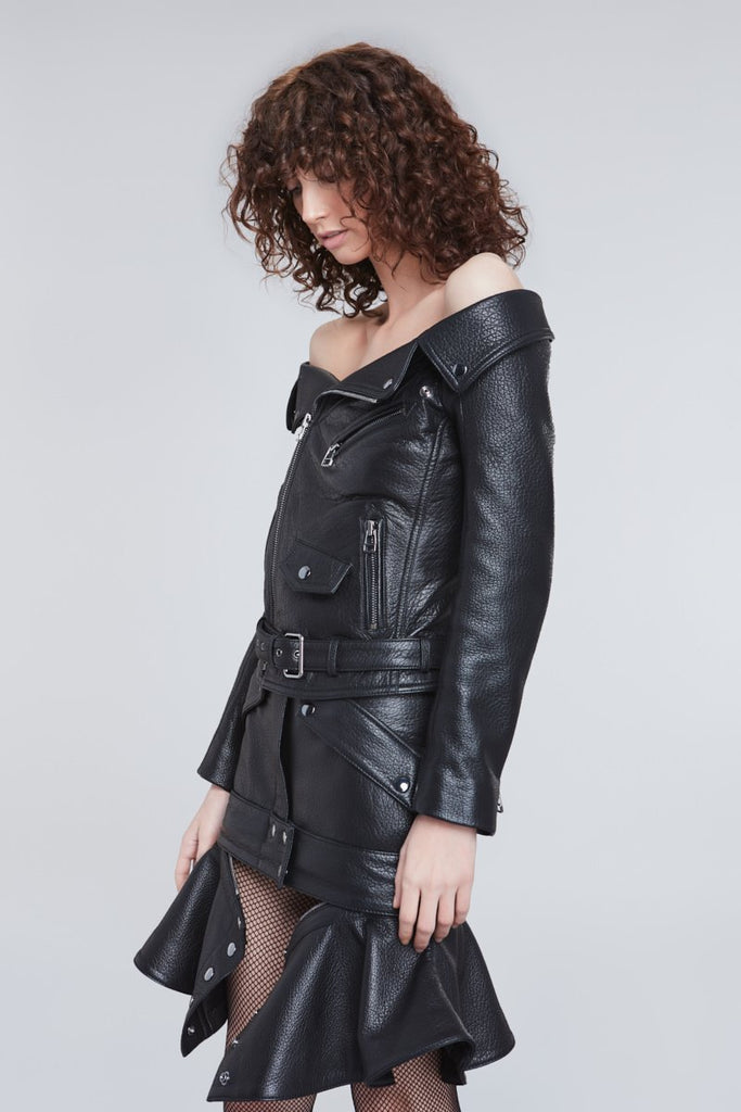 BIKER LEATHER OFF SHOULDER JACKET