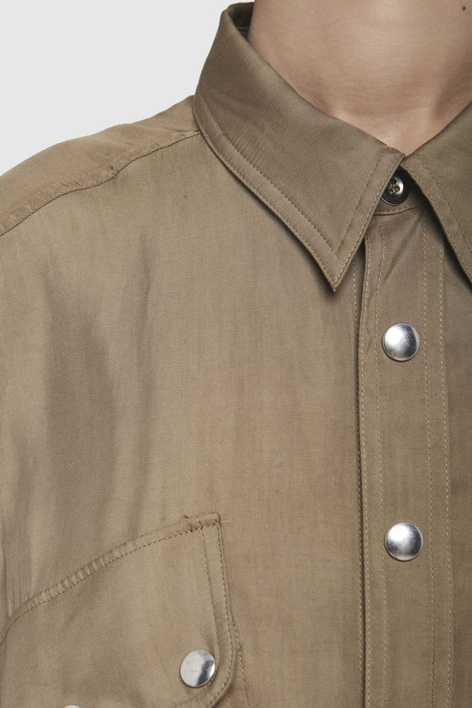 A close-up of a pyjama-style collar shirt by Faith Connexion, a brand of luxury clothes