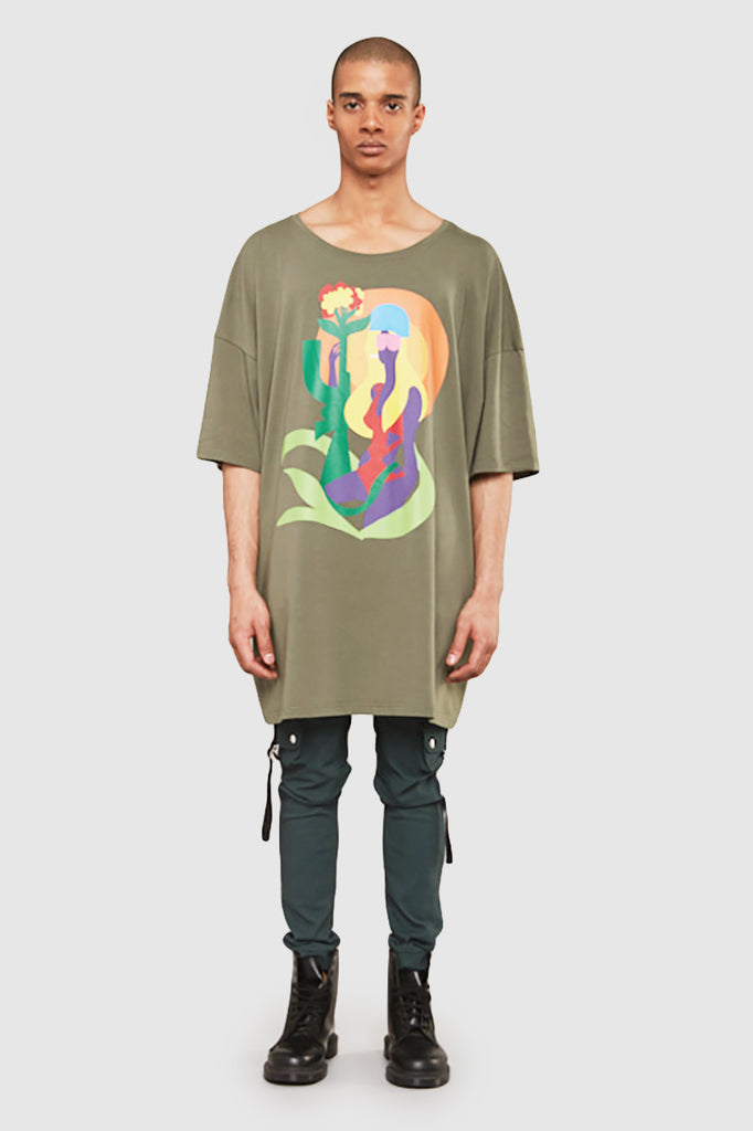 A man is wearing a Todd James printed dress t-shirt by Faith Connexion, a brand of luxury clothes