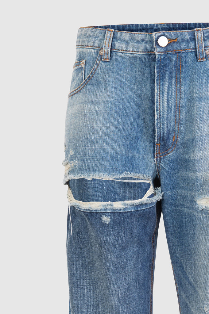 DISTRESSED STRAIGHT DENIM PANTS - Faith Connexion