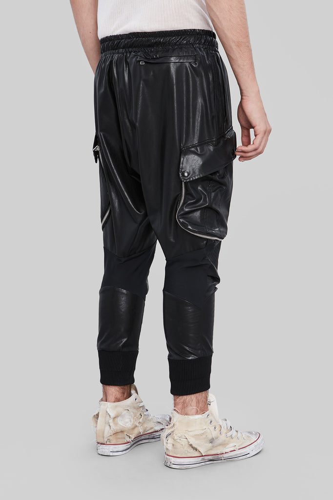 Black Synthetic Cargo Pants