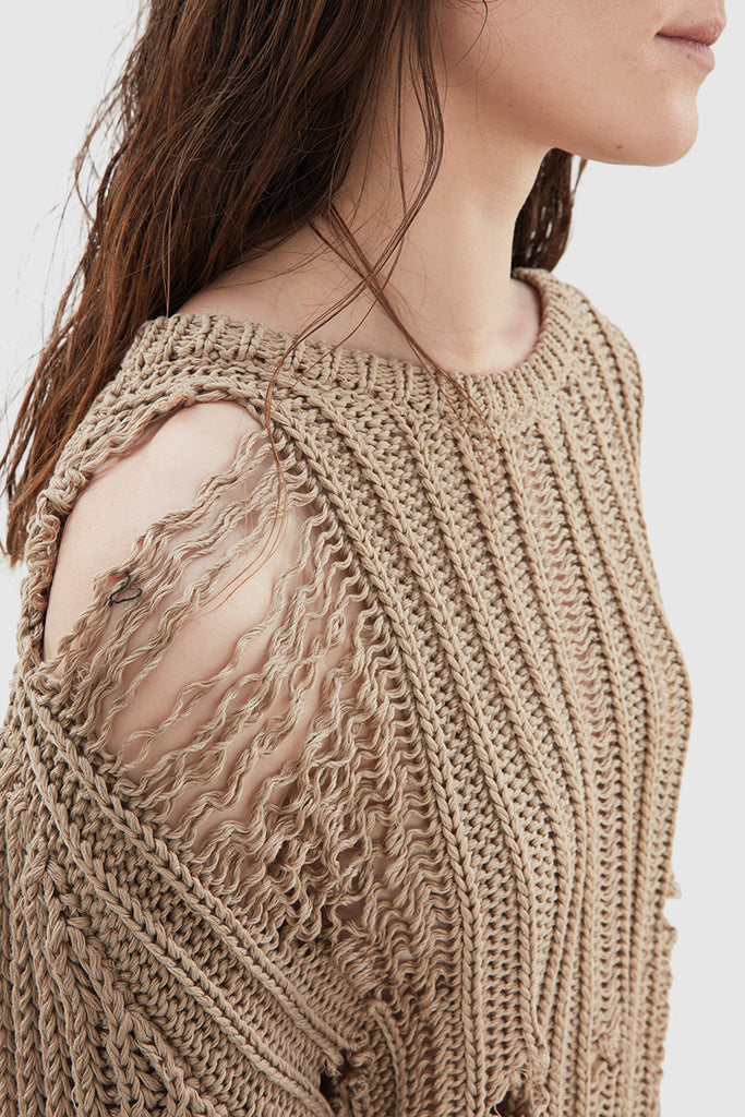 BEIGE DISTRESSED SWEATER - Faith Connexion