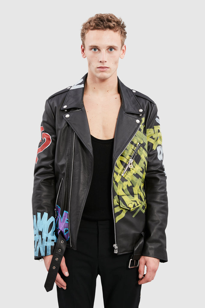 TAG LEATHER BIKER JACKET