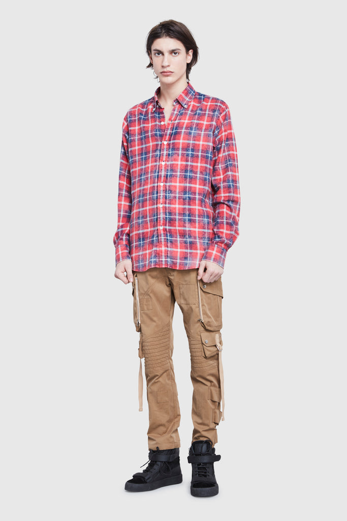RED AND BLUE CHECK BLEACHED REGULAR SHIRT