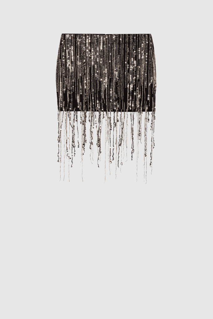 SEQUINS FRINGE MINI SKIRT