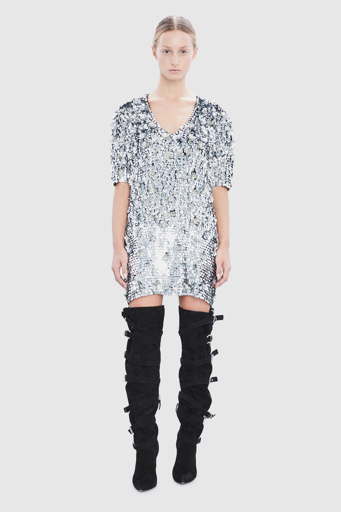 SILVER SEQUINS OVERSIZE SHIRT DRESS