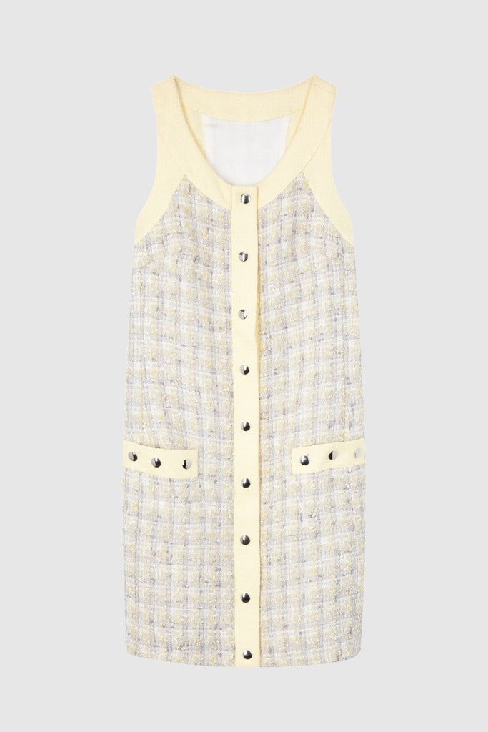 SLEEVELESS TWEED DRESS