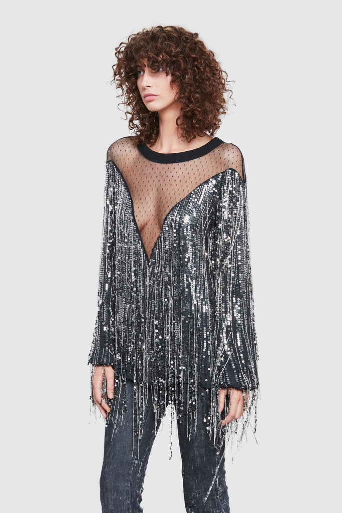 SEQUINS FRINGE LONG SLEEVE TOP