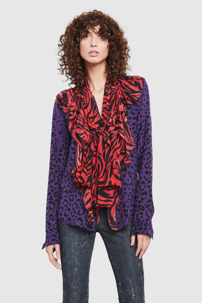 PRINT RUFFLE LONG SLEEVE SHIRT