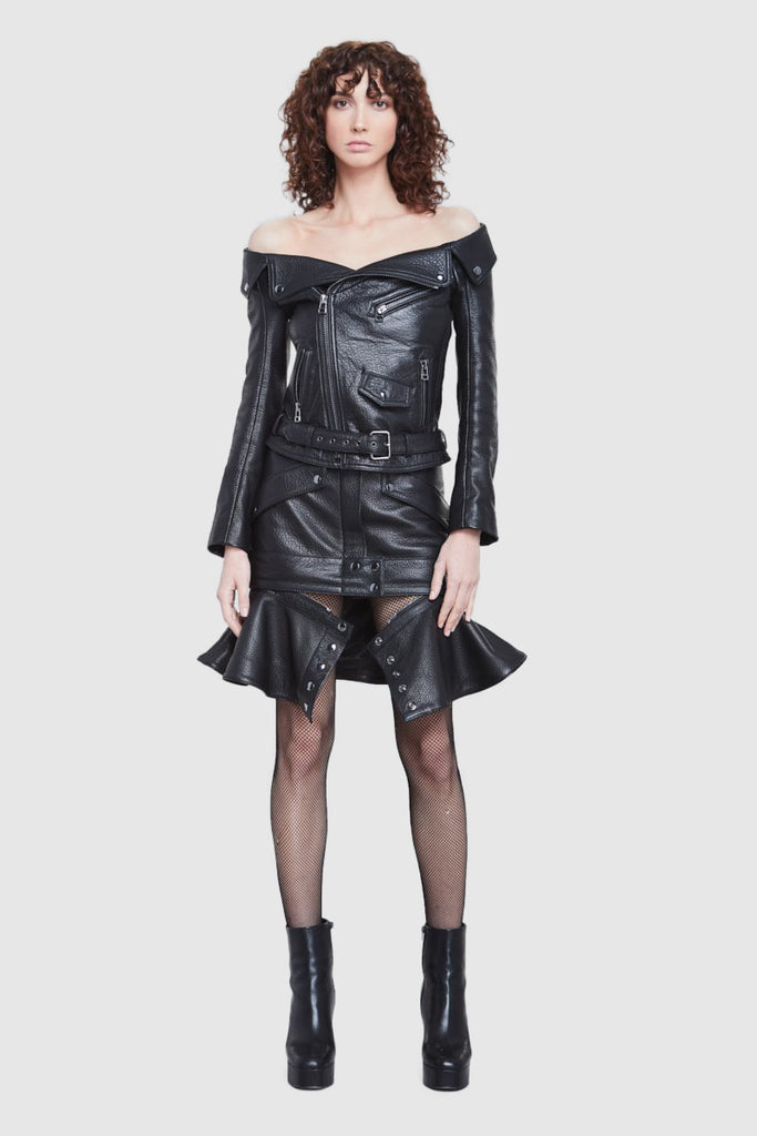 BLACK LEATHER BIKER SKIRT