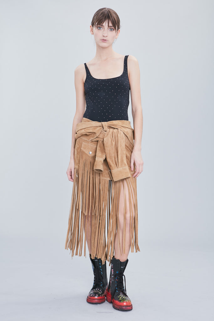 FRINGE SUEDE SHIRT SKIRT
