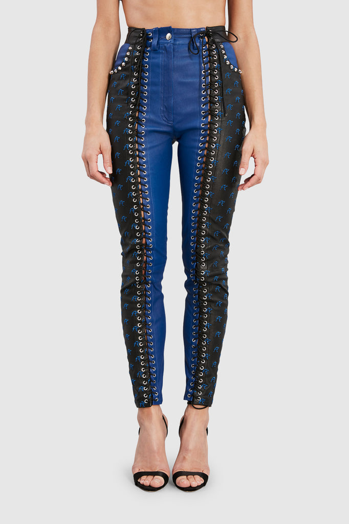 SITA LEATHER LACED UP PANTS