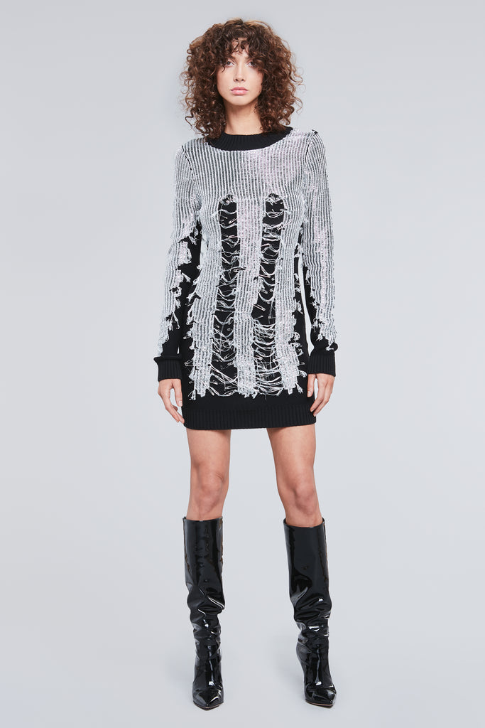 DISTRESSED LUREX  DRESS SWEATER