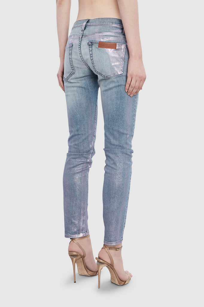 METALLIC SLIM DENIM