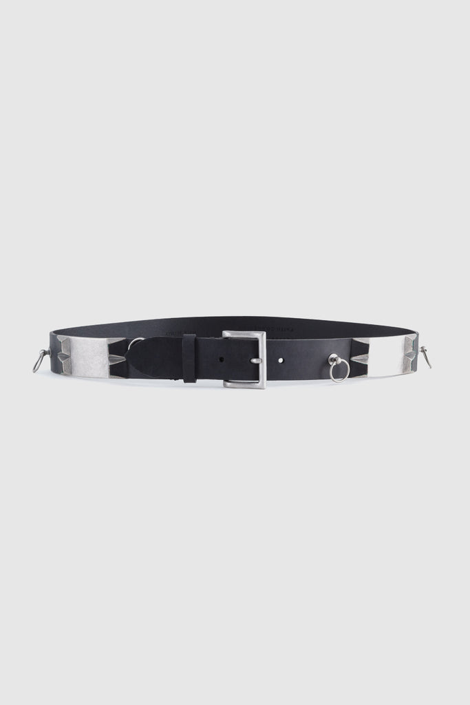 A black waist belt with silver details  by Faith Connexion, a brand of luxury clothes