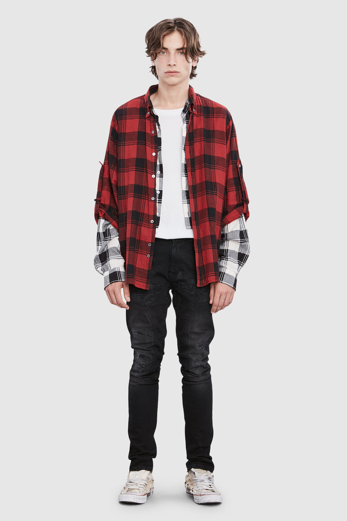 CHECKERED DOUBLE SLEEVES SHIRT