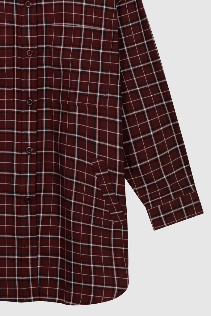 OVERSIZED CHECKED SHIRT - Burgundy - Faith Connexion