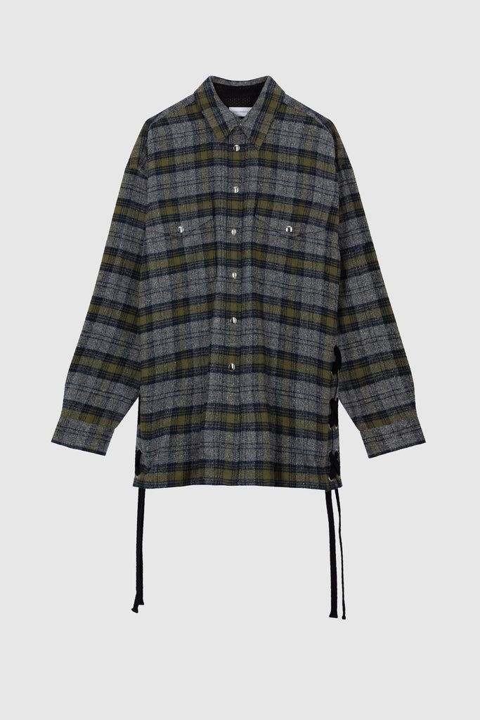 LACED OVERSIZED TWEED SHIRT JACKET - Heather Grey