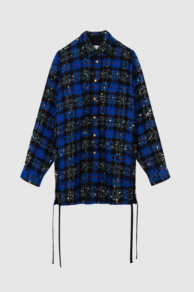 OVERSIZED TWEED SHIRT JACKET - Reflex Blue - Faith Connexion