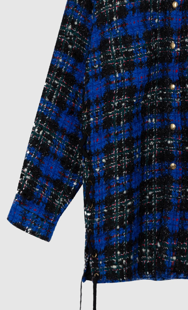 OVERSIZED TWEED SHIRT JACKET - Reflex Blue