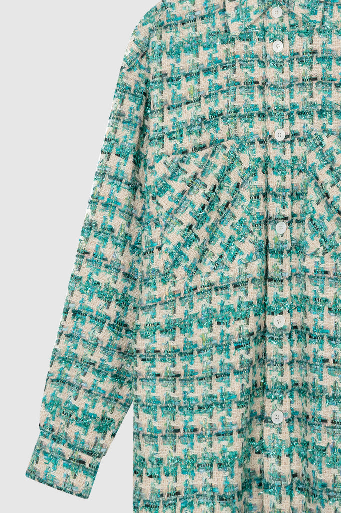 OVERSIZED TWEED SHIRT JACKET - Light Blue - Faith Connexion