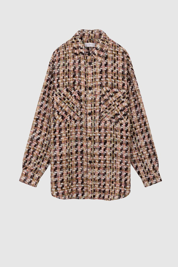 Black pink oversized tweed shirt jacket  by Faith Connexion, a brand of luxury clothes