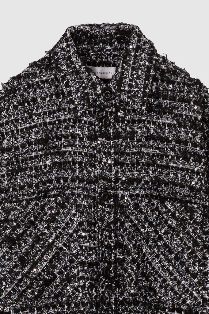 OVERSIZED TWEED SHIRT JACKET - Black White