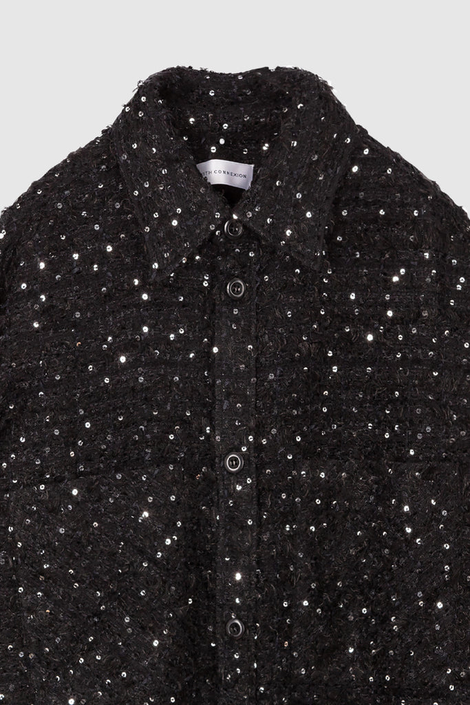 OVERSIZED TWEED SHIRT JACKET - Dark Blue