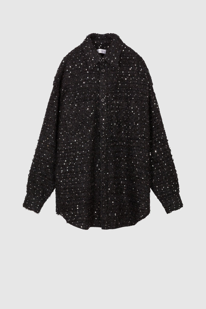 OVERSIZED TWEED SHIRT JACKET - Dark Blue - Faith Connexion