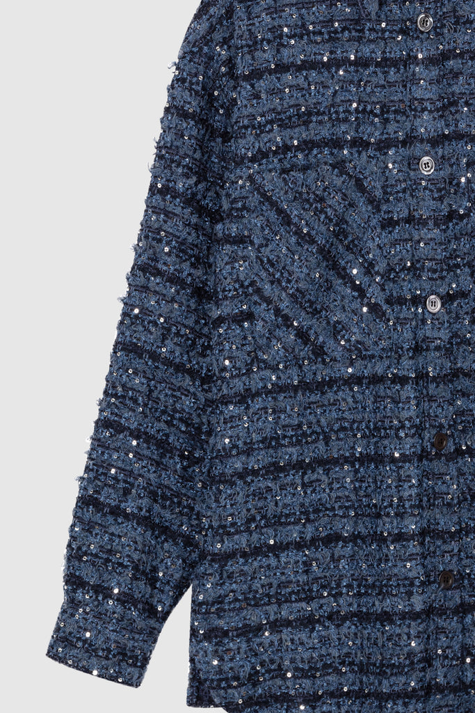 OVERSIZED TWEED SHIRT JACKET - Blue