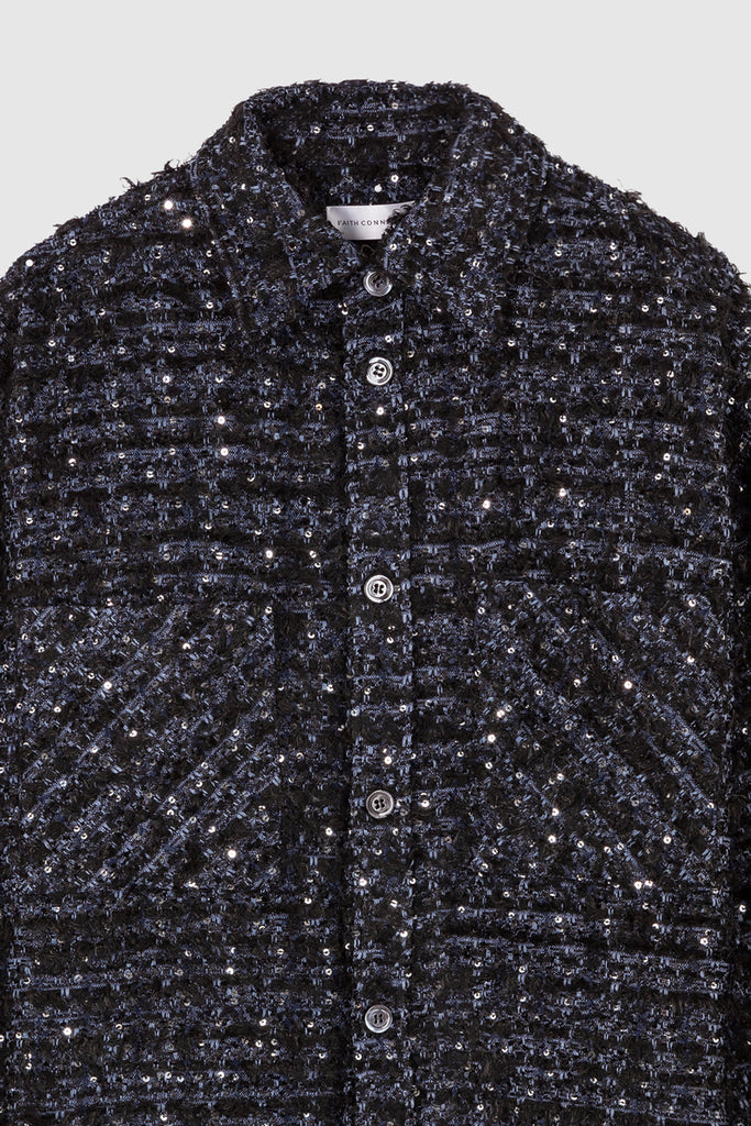 OVERSIZED TWEED SHIRT JACKET - Navy Blue