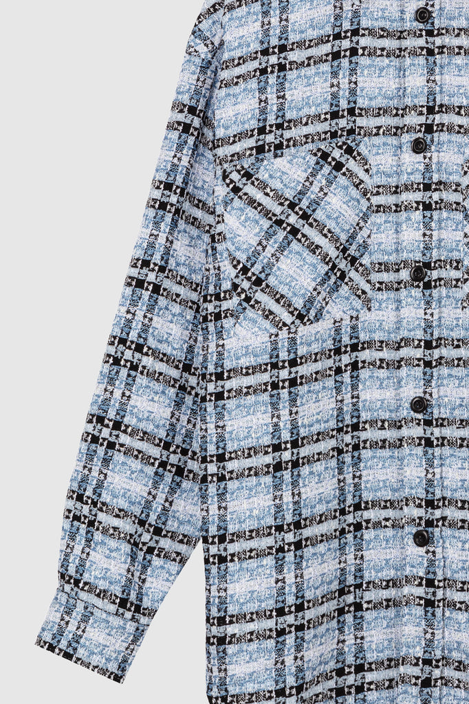 OVERSIZED TWEED SHIRT JACKET - Blue Black - Faith Connexion