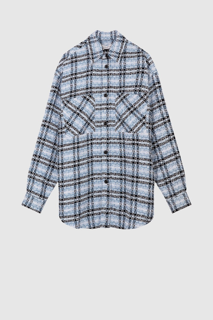 OVERSIZED TWEED SHIRT JACKET - Blue Black