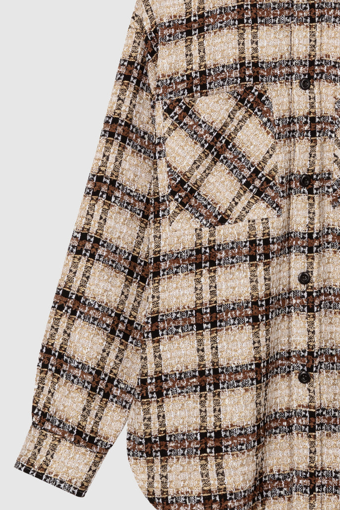 OVERSIZED TWEED SHIRT JACKET - Brown