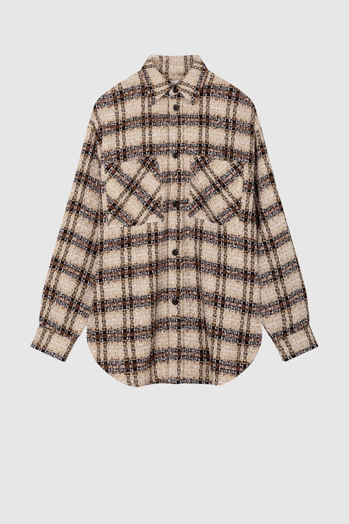 OVERSIZED TWEED SHIRT JACKET - Brown - Faith Connexion