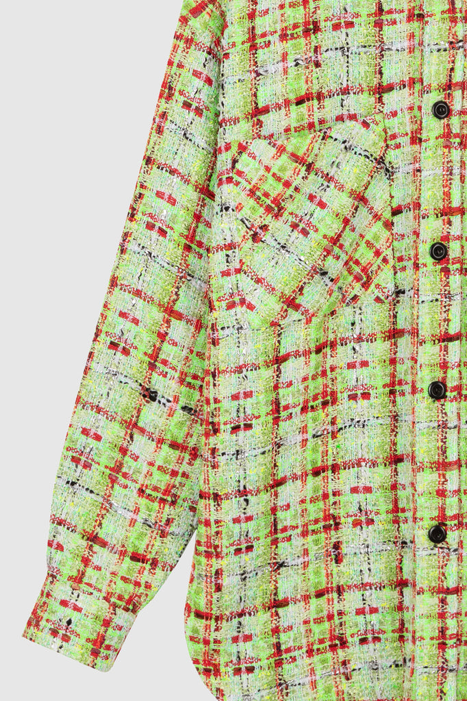 OVERSIZED TWEED SHIRT JACKET - Lime Green - Faith Connexion