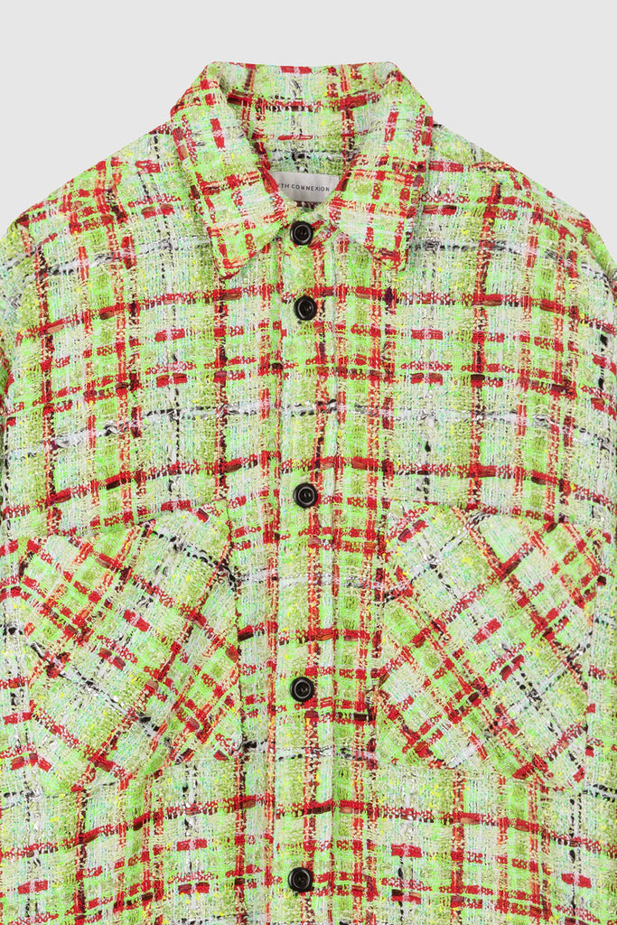 OVERSIZED TWEED SHIRT JACKET - Lime Green