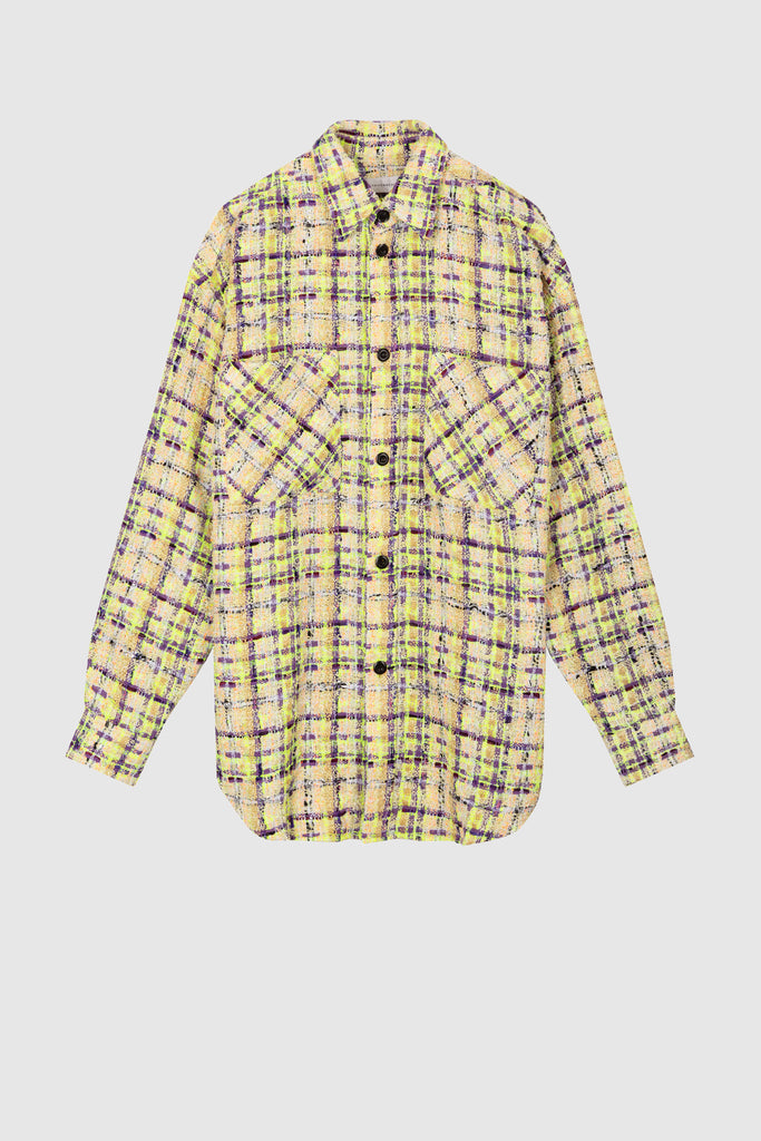 OVERSIZED TWEED SHIRT JACKET - Green Purple