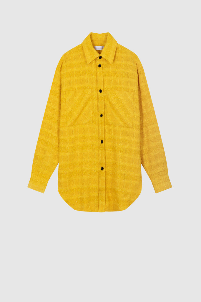 OVERSIZED TWEED SHIRT JACKET - Yellow