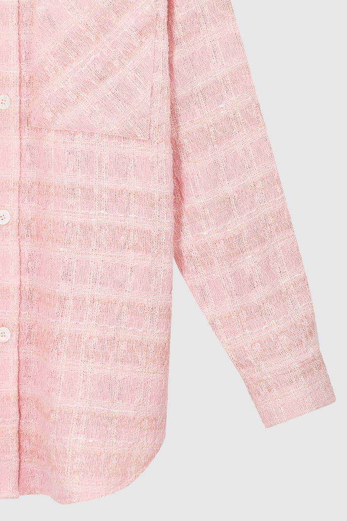 OVERSIZED TWEED SHIRT JACKET - Pink