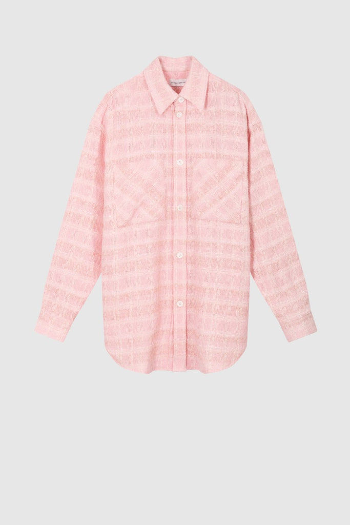 OVERSIZED TWEED SHIRT JACKET - Pink - Faith Connexion