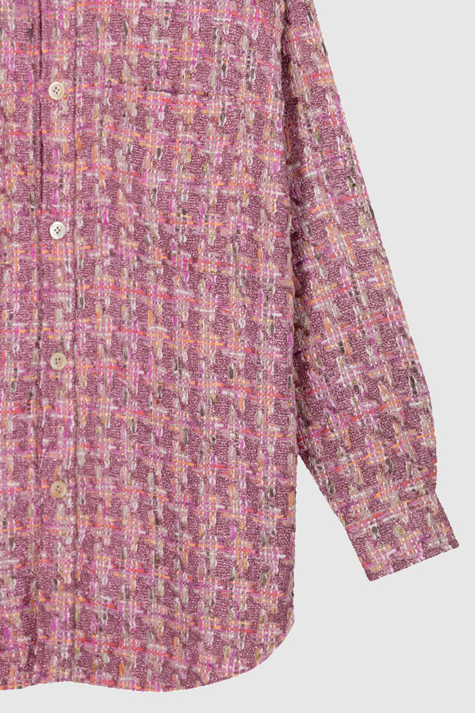OVERSIZED TWEED SHIRT JACKET - Pink Quartz