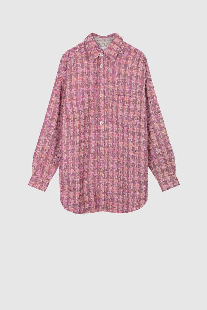 OVERSIZED TWEED SHIRT JACKET - Pink Quartz - Faith Connexion